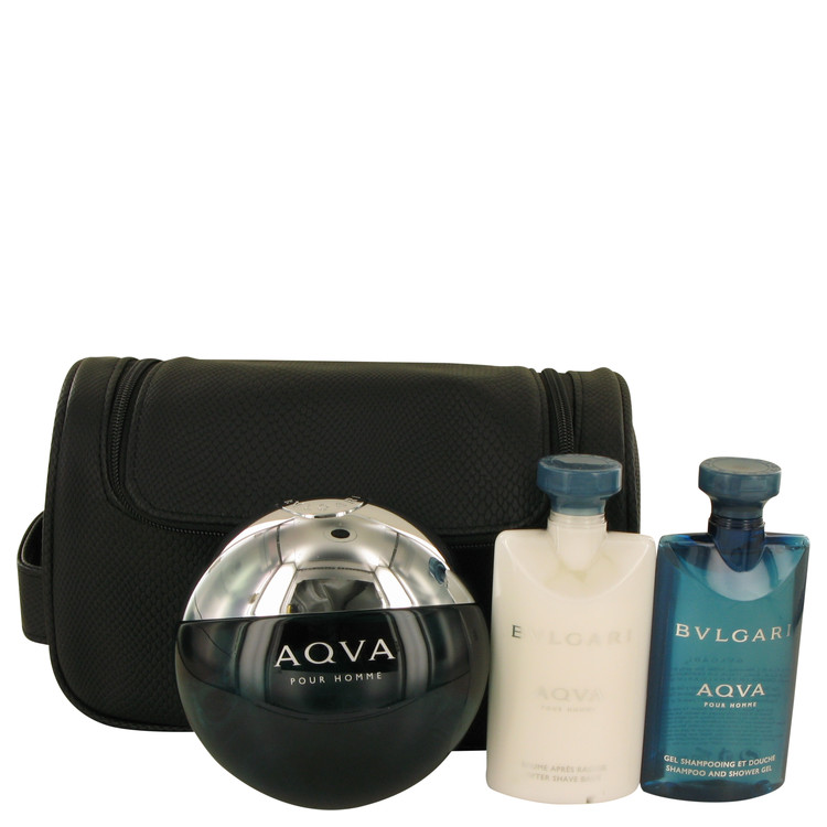 AQUA POUR HOMME by Bvlgari for Men Gift Set -- 3.4 oz Eau De Toilette Spray + 2.5 oz After Shave Balm +2.5 oz Shower Gel + Pouch