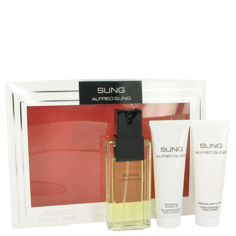 Alfred SUNG by Alfred Sung for Women Gift Set -- 3.4 oz Eau De Toilette Spray + 2.5 oz Body Lotion + 2.5 oz Shower Gel