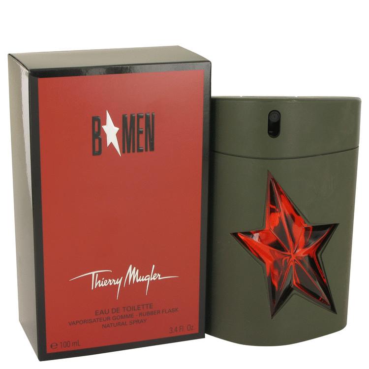B Men by Thierry Mugler for Men Eau De Toilette Spray Refillable Rubber Flask 3.4 oz