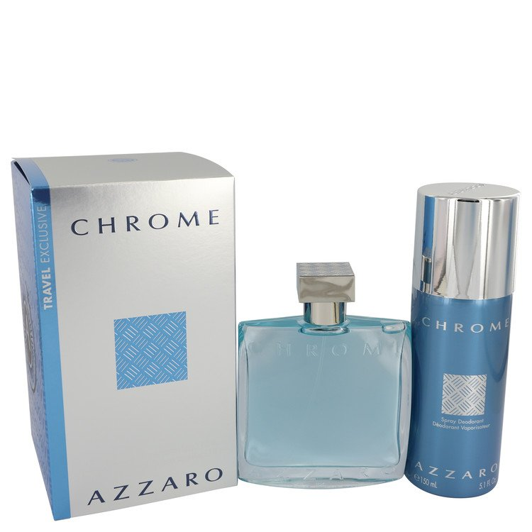 Chrome by Azzaro for Men Gift Set -- 3.4 oz Eau De Toilette Spray + 5 oz Deodorant Spray