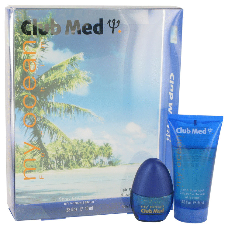 Club Med My Ocean by Coty for Men Gift Set -- .33 oz Mini EDT Spray + 1.85 oz Hair & Body Wash