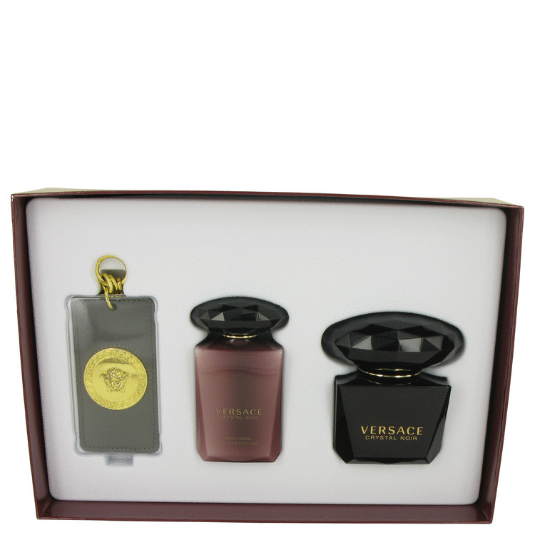 Crystal Noir by Versace for Women Gift Set -- 3 oz Eau De Toilette Spray + 3.4 oz Body Lotion + Versace Luggage Tag