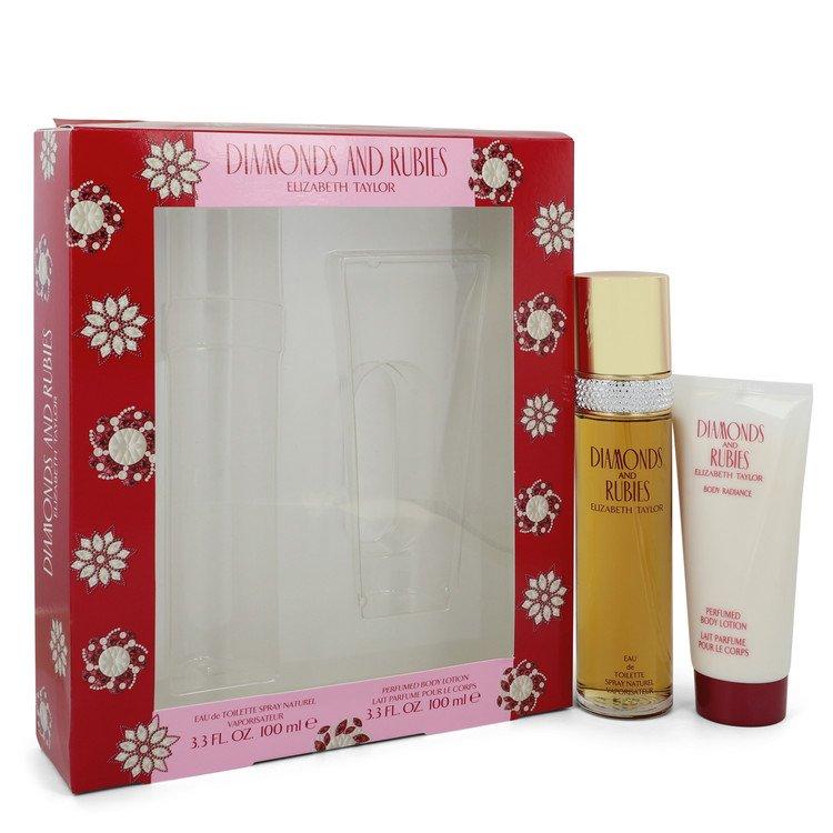 DIAMONDS & RUBIES by Elizabeth Taylor for Women Gift Set -- 3.3 oz Eau De Toilette Spray + 3.3 oz Body Lotion