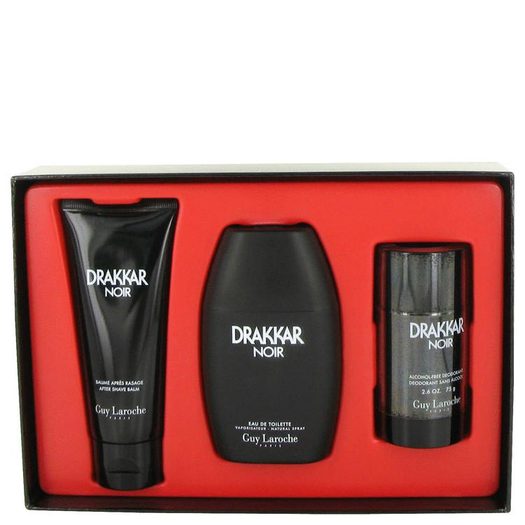 DRAKKAR NOIR by Guy Laroche for Men Gift Set -- 3.4 oz Eau De Toilette Spray + 3.4 oz After Shave Balm + 2.5 oz Deodorant Stick