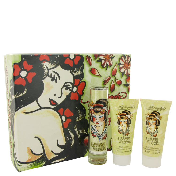 Love & Luck by Christian Audigier for Women Gift Set -- 1.7 oz Eau De Parfum Spray + 3 oz Body Lotion + 3 oz Bath & Shower Gel