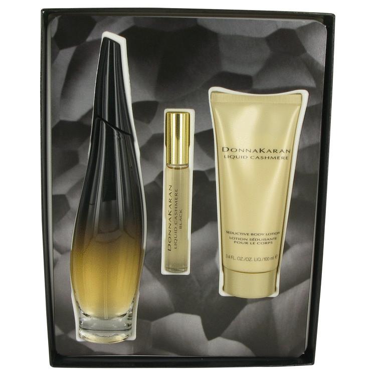 Liquid Cashmere Black by Donna Karan for Women Gift Set -- 3.4 oz Eau De Parfum Spray + .34 oz Mini EDP Roller Ball + 3.4 oz Bod