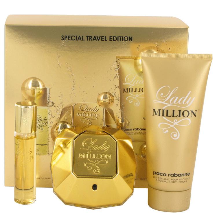Lady Million by Paco Rabanne for Women Gift Set -- 2.7 oz Eau De Parfum Spray + 3.4 oz Body Lotion + .51 oz Mini EDP Spray