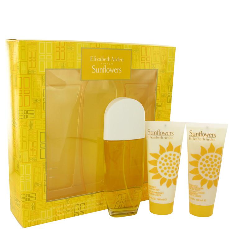 SUNFLOWERS by Elizabeth Arden for Women Gift Set -- 3.3 oz Eau De Toilette Spray + 3.3 oz Hydrating Cream Cleanser + 3.3. oz Bod