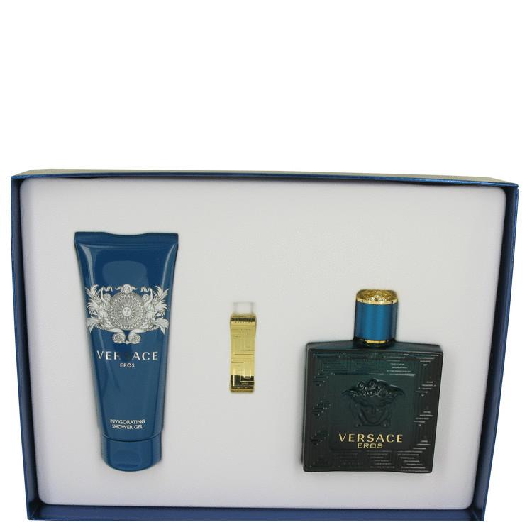 Versace Eros by Versace for Men Gift Set -- 3.4 oz Eau De Toilette Spray + 3.4 oz Shower Gel + Gold Money Clip