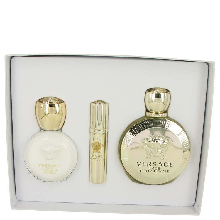 Versace Eros by Versace for Women Gift Set -- 3.4 oz Eau De Parfum Spray + .3 oz Mini EDP Spray + 3.4 oz Body Lotion