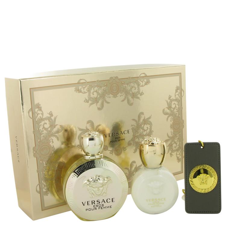 Versace Eros by Versace for Women Gift Set -- 3.4 oz Eau De Parrfum Spray + 3.4 oz Body Lotion + Gold Versace Luggage Tag
