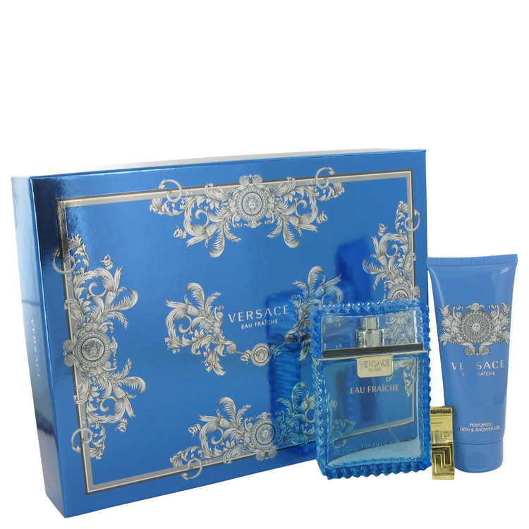 Versace Man by Versace for Men Gift Set -- 3.4 oz Eau De Toilette Spray (Eau Fraiche) + 3.4 oz Shower Gel + Gold Versace Money C