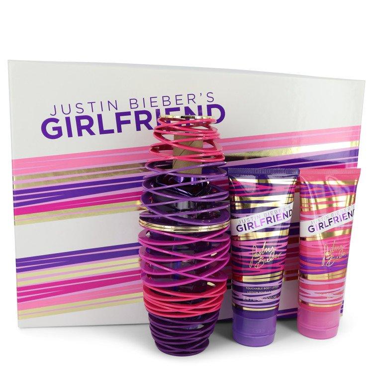 Girlfriend by Justin Bieber for Women Gift Set -- 3.4 oz Eau De Parfum Spray + 3.4 oz Body Lotion + 3.4 oz Shower Gel