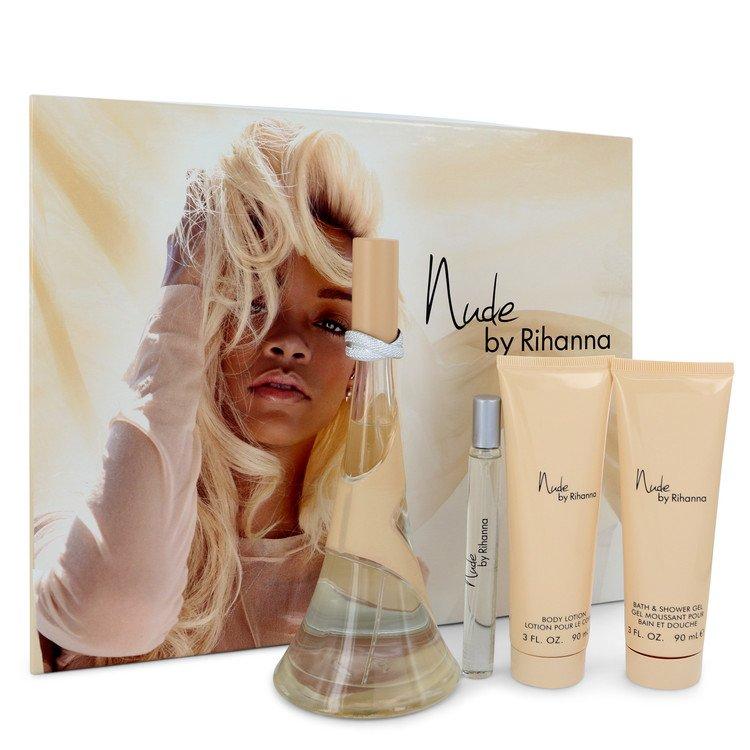 Nude by Rihanna by Rihanna for Women Gift Set -- 3.4 oz Eau De Parfum Spray + 3 oz Body Lotion + 3 oz Shower Gel + .33 oz Mini E