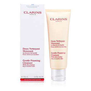 Clarins Skincare 4.4 oz Gentle Foaming Cleanser with Shea Butter (Dry/ Sensitive Skin)