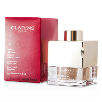 Clarins Make Up 0.4 oz Skin Illusion Mineral & Plant Extracts Loose Powder Foundation (With Brush) - # 113 Chestnut