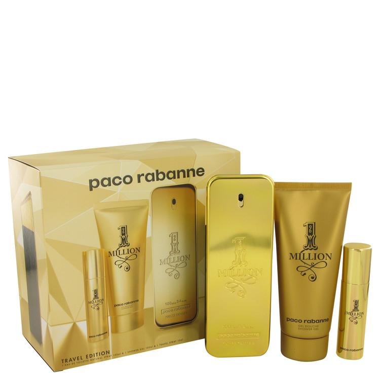 1 Million by Paco Rabanne Men's Gift Set -- 3.4 oz Eau De Toilette Spray + .34 oz Mini EDT Spray + 3.4 oz Shower Gel