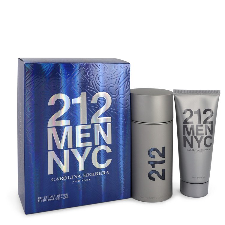 212 by Carolina Herrera Men's Gift Set -- 3.3 oz  Eau De Toilette Spray + 3.3 oz After Shave Gel