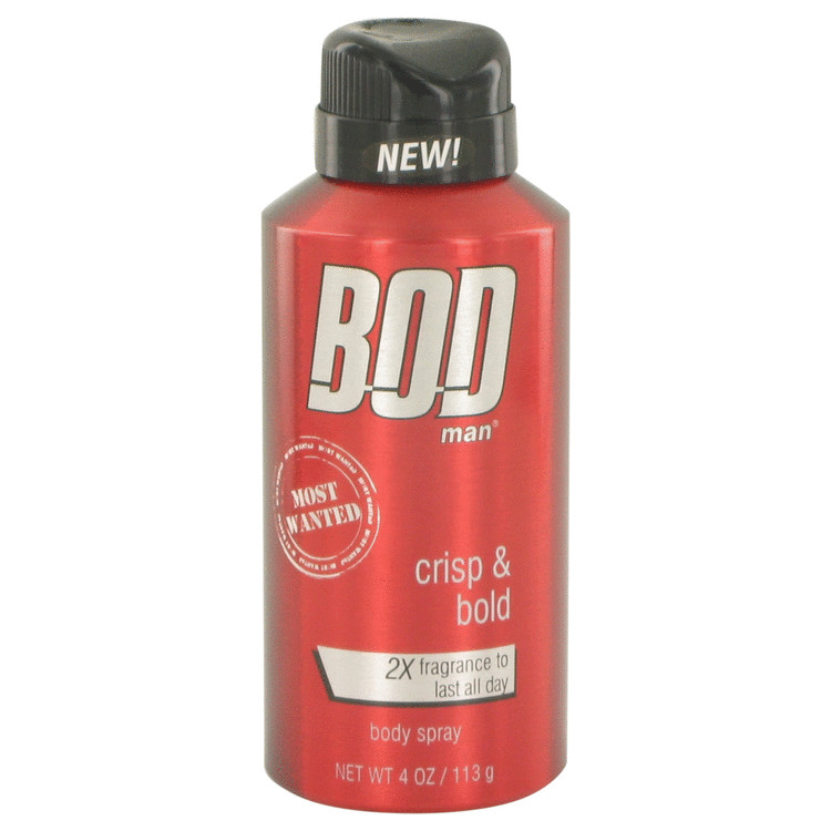 Bod Man Most Wanted by Parfums De Coeur for Men Fragrance Body Spray 4 oz