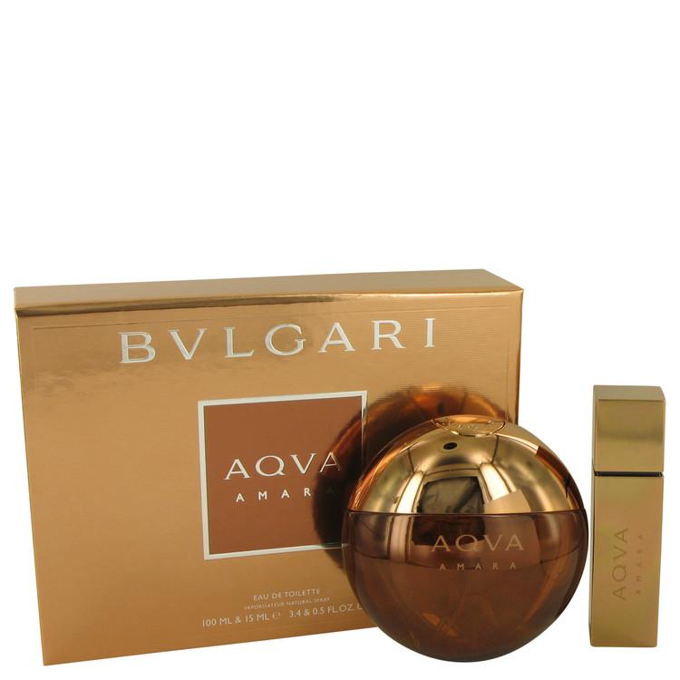 Bvlgari Aqua Amara by Bvlgari Men's Gift Set -- 3.4 oz Eau De Toilette Spray + 0.5 oz Mini EDT Spray