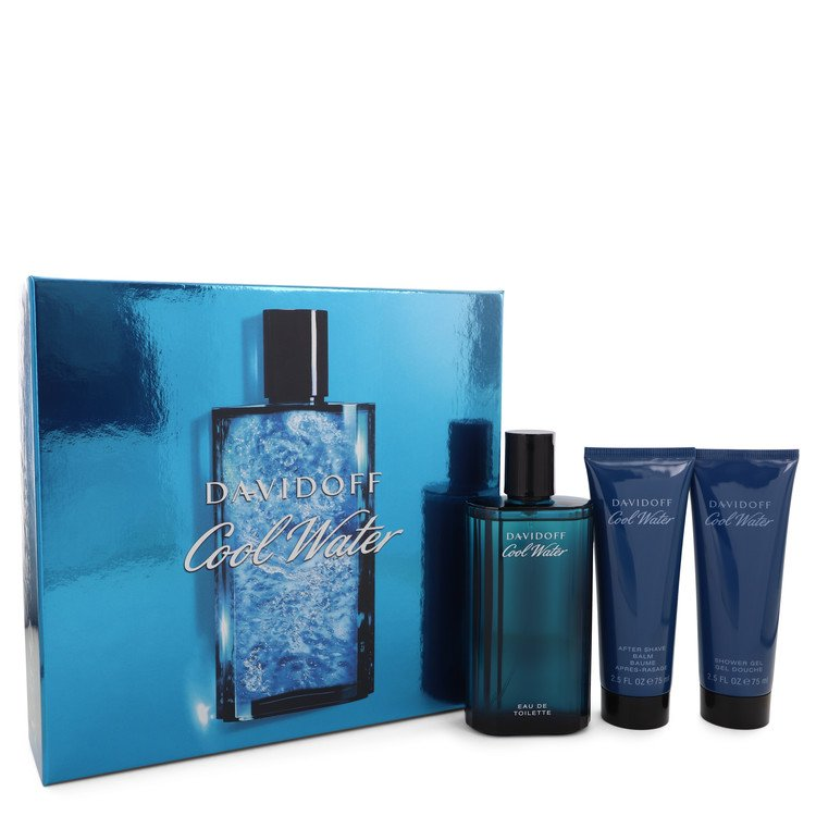 Cool Water by Davidoff Men's Gift Set -- 4.2 oz Eau De Toilette Spray + 2.5 oz After Shave Balm + 2.5 oz Shower Gel