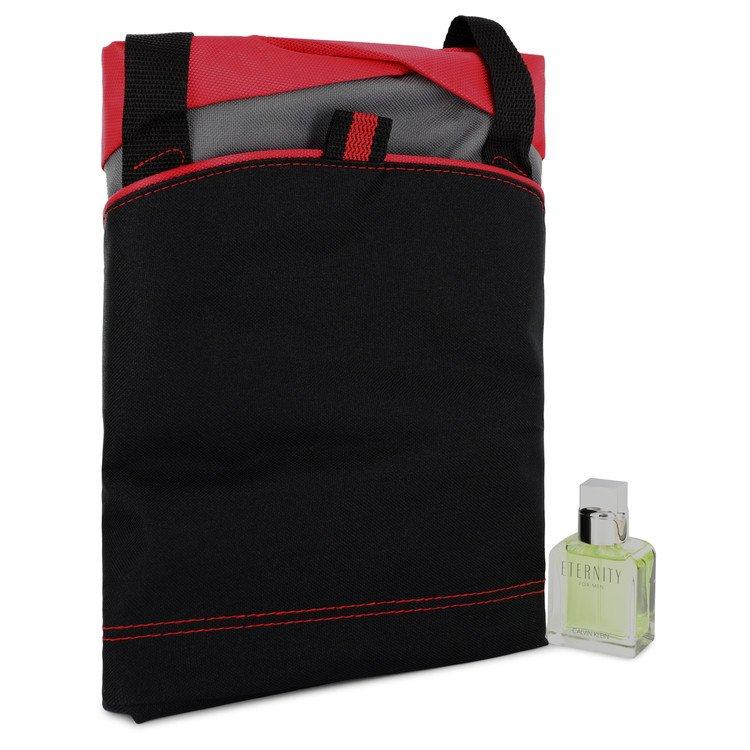 ETERNITY by Calvin Klein-Men-Gift Set -- 1 oz  Eau De Toilette Spray + Medium Red Contrast Duffle Bag Image