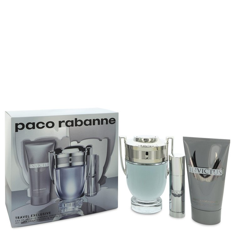 Invictus by Paco Rabanne-Men-Gift Set -- 3.4 oz Eau De Toilette Spray + .34 oz Mini EDT Spray + 2.5 oz Shower Gel Image