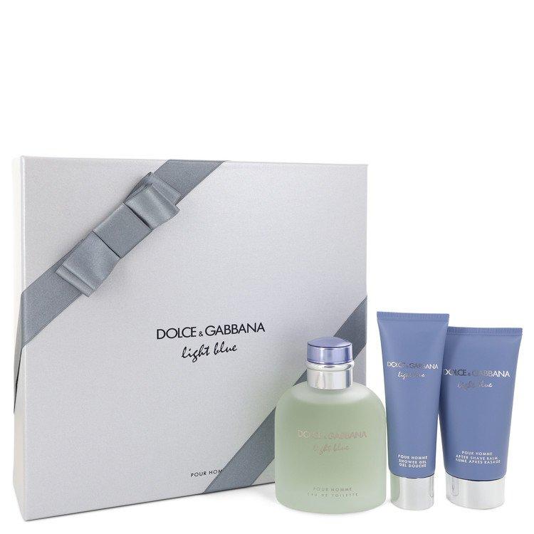 Light Blue by Dolce & Gabbana Men's Gift Set -- 4.2 oz Eau De Toilette Spray + 2.5 oz After Shave Balm + 1.7 oz Shower Gel