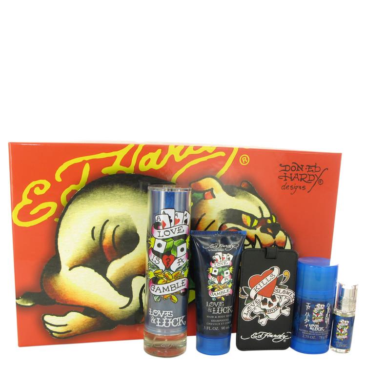 Love & Luck by Christian Audigier Men's Gift Set 3.4 oz Eau De Toilette Spray + 3 oz Hair & Body Wash + 2.75 oz Deodorant Stick + .25 oz Mini EDT Spray + Luggage Tag Image
