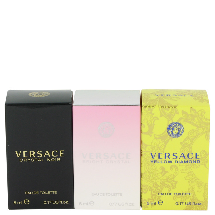 Bright Crystal by Versace for Women Gift Set -- Miniature Collection Includes Crystal Noir, Bright Crystal and Versace Yellow Diamond