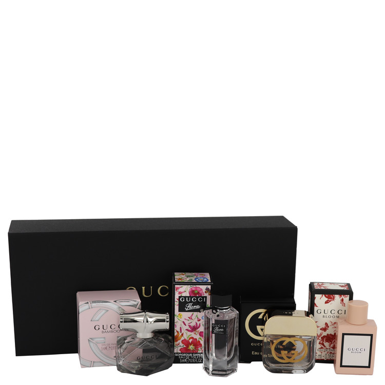 Gucci Guilty by Gucci for Women Gift Set -- Gucci Travel Set Includes Gucci Bamboo, Gucci Guilty, Flora Gorgeous Gardenia and Gucci Bloom