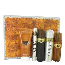 Cuba Gold Gift Set by Fragluxe Gift Set for Men Includes 3.3 oz Eau De Toilette Spray + 3.3 oz After Shave Spray + 6.7 oz Body Deodorant Spray + 6.7 oz Shower Gel +  1.17 oz EDT Spray