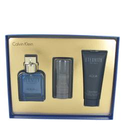 Eternity Aqua Gift Set by Calvin Klein Gift Set for Men Includes 3.4 oz EDT Spray + 3.4 oz After Shave Balm + 2.6 oz Deodorant Stick