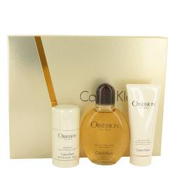 Obsession Gift Set by Calvin Klein Gift Set for Men Includes 4 oz EDT Spray + 3.4 oz After Shave Balm + 2.6 oz Deodorant Stick