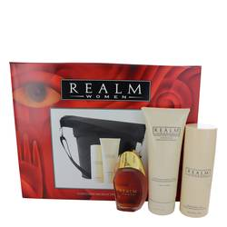 Realm Gift Set by Erox Gift Set for Women Includes 1.7 oz Eau De Toilette Spray + 3 oz Talc + 6.8 oz Body Lotion with Expandable Duffle Bag