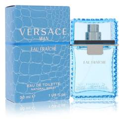 Versace Man Cologne by Versace, 1 oz Eau Fraiche Eau De Toilette Spray (Blue) for Men