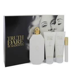 Truth Or Dare Perfume by Madonna -- Gift Set - 2.5 oz Eau De Parfum Spray + 2.5 oz Body Lotion + 2.5 oz Shower Gel + .3 oz Mini EDP RollerBall