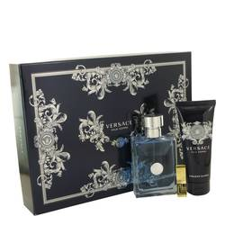 Versace Pour Homme Cologne by Versace -- Gift Set - 3.4 oz Eau De Toilette Spray + 3.4 Hair & Body Shampoo + Gold Versace Money Clip