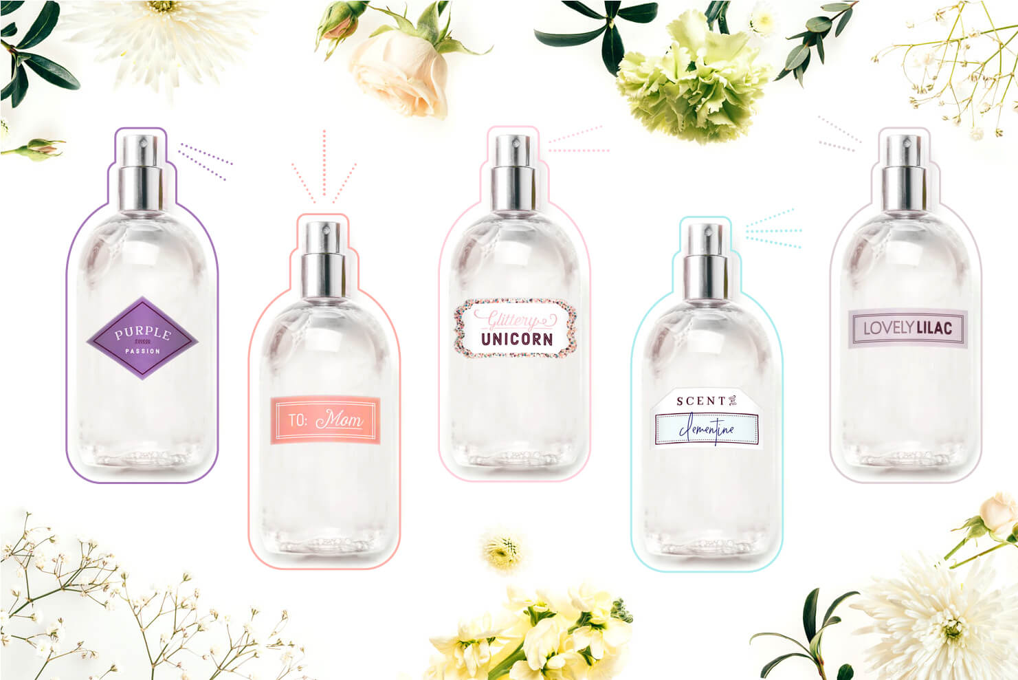 assorted perfume bottles with labels on floral background