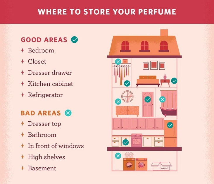 a chart describing where the best places in a house are to store perfume