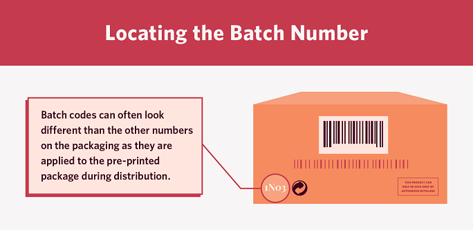a diagram that shows where to locate the batch number