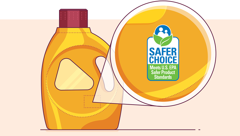 illustrated zoom in of the safer-choice label