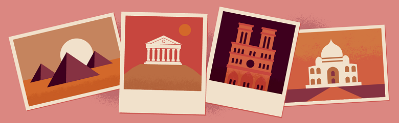 Illustrated pictures of ancient landmarks