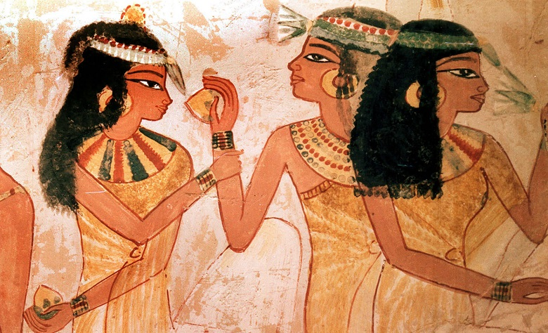 ancient painting of egyptians and perfume