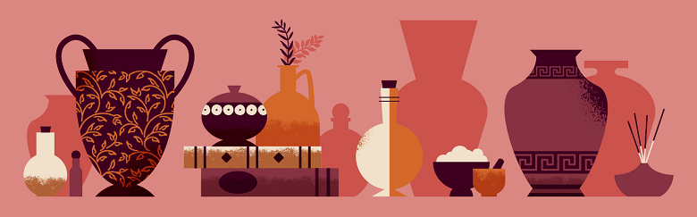 illustrated images of ancient vessels and perfume making equipment