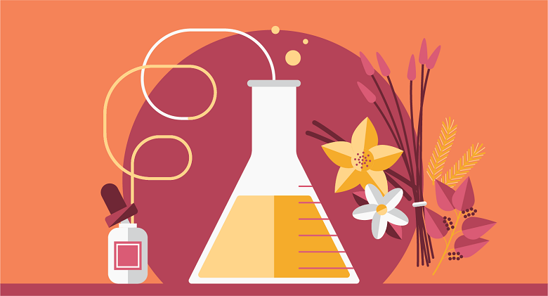 illustration of the perfume manufacturing process