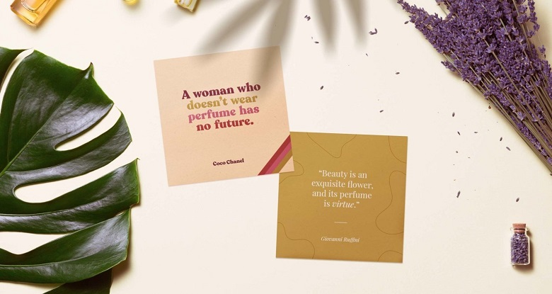printable perfume quotes sitting with decorative elements - mockup