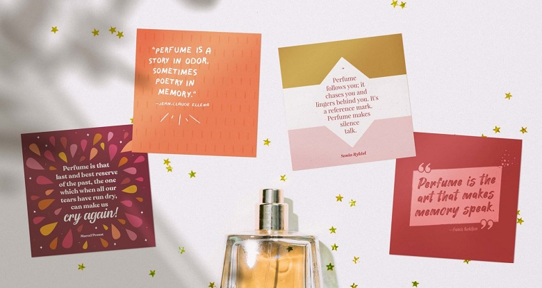 printable perfume quotes sitting with perfume bottle - mockup