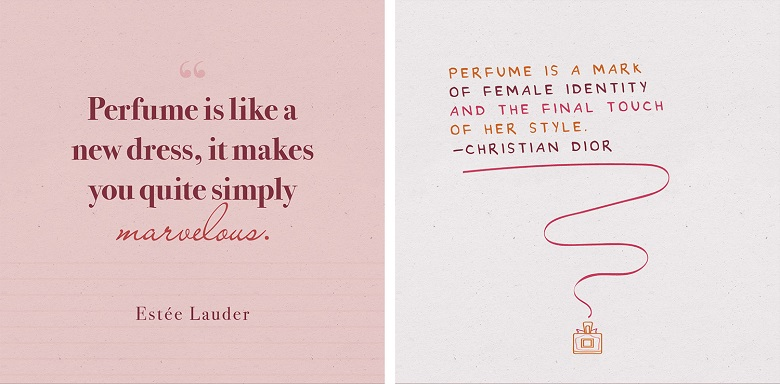 decorative perfume quote printables side by side