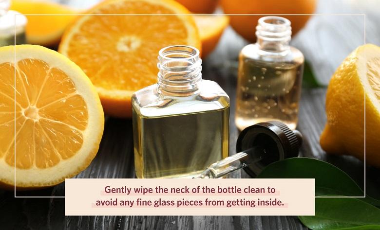 wipe perfume bottle of any fine glass
